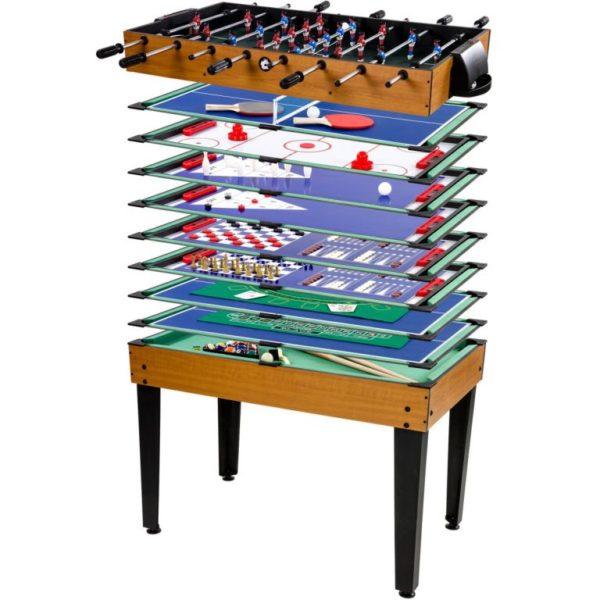 Hnědý multifunkční herní stůl 15 v 1